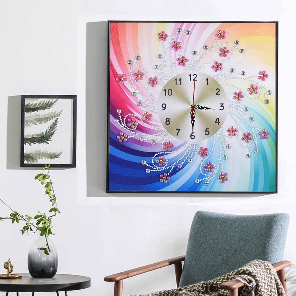 5D алмаз особенной формы вышивка настенные часы «сделай сам» Цветочная живопись Алмазная вышивка крестиком стразы декоративные картины