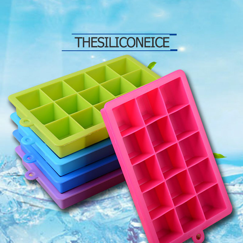 Hot Sale 15 Holes Silicone Ice Cube Mold Tray DIY Jelly Moulds Square Shape Ice Tray Drinking Accessories