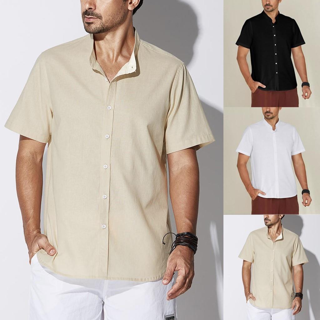 Summer Men Retro Plain Casual Short Sleeve Cotton Linen Button Blouse Top Shirts