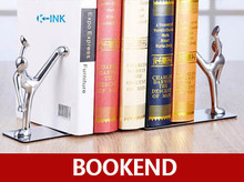 Creative Little People Alloy Bookends , Metal Chinese Kung Fu Desk Book Organizer as Book Stand