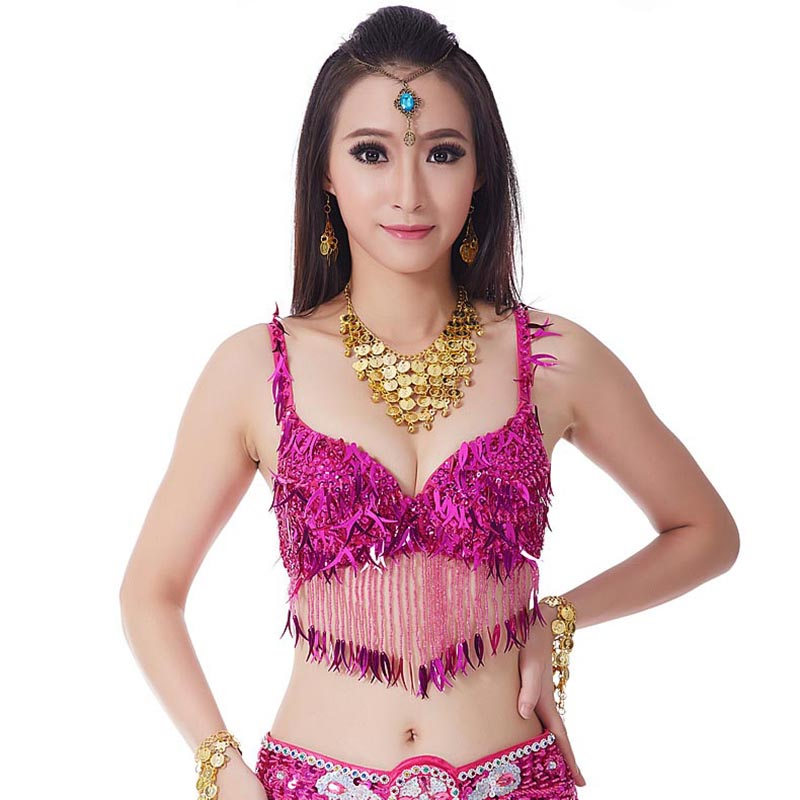 2217e9fc2fb7af 1Pc Stage   Dance Wear Oriental Dance Sequined Beaded Bra Top Belly ...