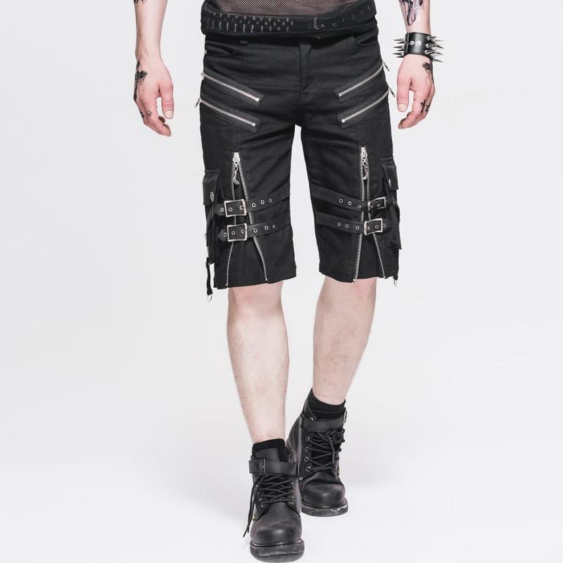 Devil Fashion Punk Rock Man Black Summer Short Pants Men's Gothic Causal Cool Short Trousers with Pockets Zipper