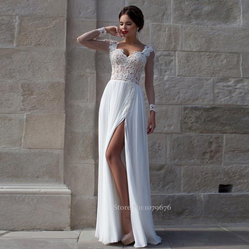 White sexy chiffon wedding dresses