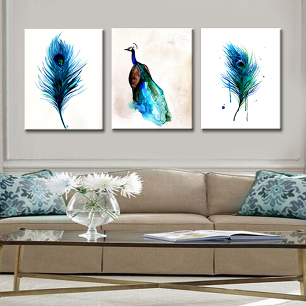 3 Pieces Modern Blue Peacock Feather Canvas Painting