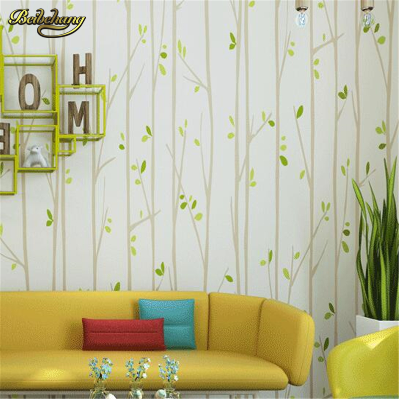 beibehang Child Room Trees Leaf Wallpaper for Baby Kids Room Non-woven Wall Paper Home Decor Pink Green Yellow papel de parede beibehang non woven wallpaper rolls pink love stripes printed wall paper design for little girls room minimalist home decoration