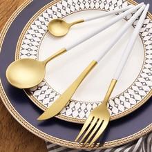 LEKOCH Golden 18/10 Stainless Steel  Flatware Set White Haldle Sliverware Set Fork Knife Spoons Cutlery Set Home Tableware Set