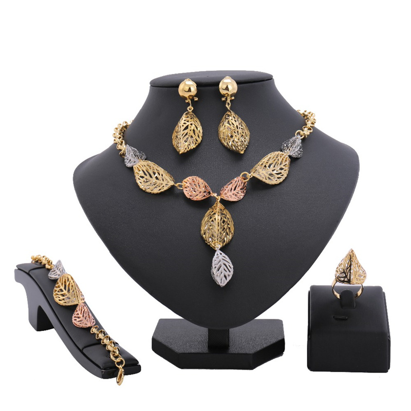 Luxury Nigerian Beads African Big Necklace Bracelet Rings Earrings Jewelry Sets Fashion Dubai Three tone Color Jewelry Se ...