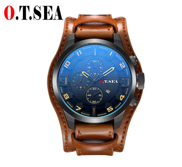Hot Sales O.T.SEA Brand Leather Watch Men Military Sports Quartz Wristwatch With