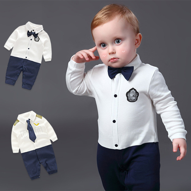 ab0463ad4e6 Detail Feedback Questions about Newborn Baby Boys Rompers 100% Cotton Tie  Gentleman Suit Bow Leisure Tuxedos Clothing Infant Jumpsuits Toddler Boy  Clothes ...
