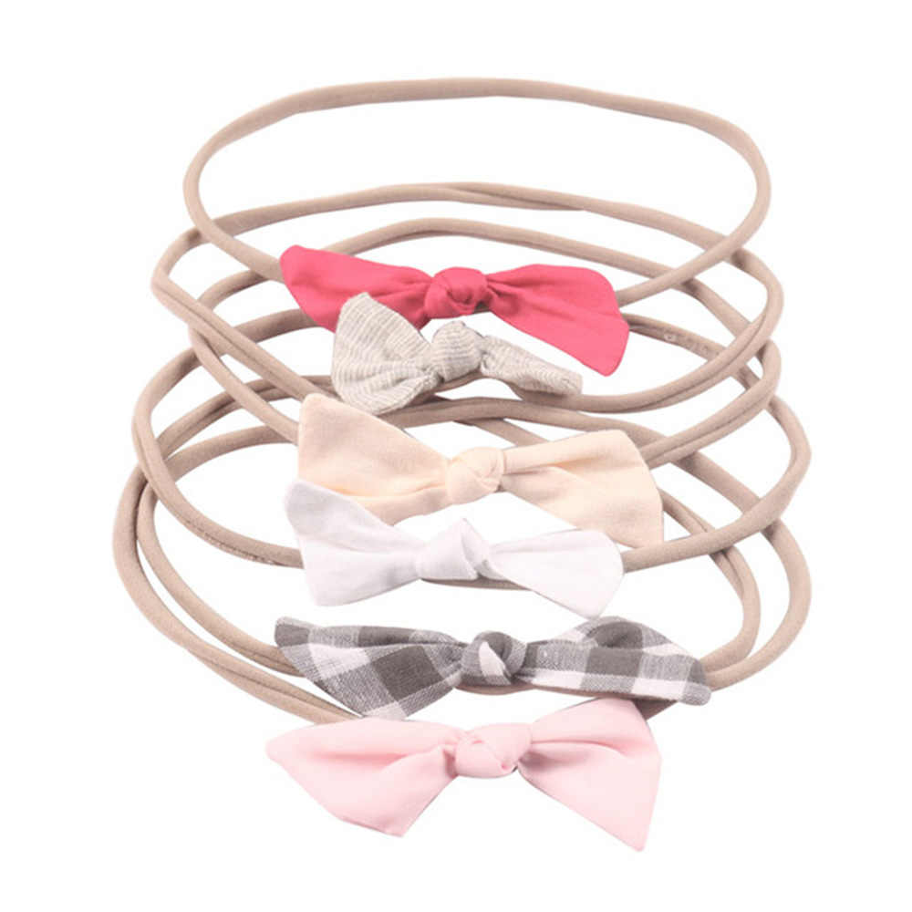 6 Pcs/set Fashion Solid Fabric Hairbow Soft Nylon Elastic Hair Bands Handmade Cross Knot Headband For Baby Hair Accessories