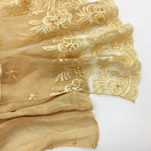 Image 4 - New 2018 winter Muslim hijab luxury embroidery lace floral scarf lady cotton scarf brand head scarf Arab female Stoles Bandana