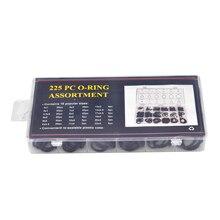 Ассортимент уплотнительных колец шайбы 225 шт Черный Автомобильный резиновый Комплект прокладок Универсальный заменяет w/Box
