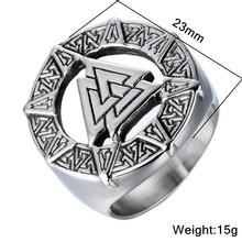 Fashion Men Odin Symbol Norse Viking Mens Boys Stainless Steel Biker Ring For Punk Jewelry