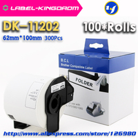100 Rolls Compatible DK-11202 Label 62mm*100mm Compatible for Brother Label Printer All Come With Plastic Holder 300Pcs/Roll