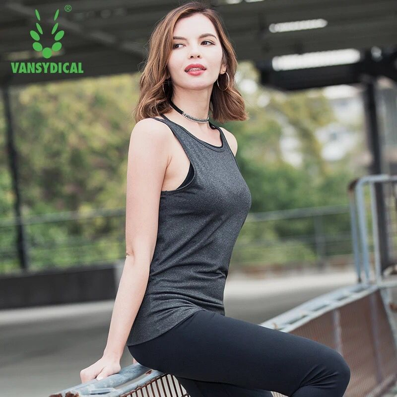 Sexy Backless Women Sports Vest Sleeveless Quick Drying Fitness Running Tank Tops Solid Color Loose Gym Yoga Shirt Sportswear
