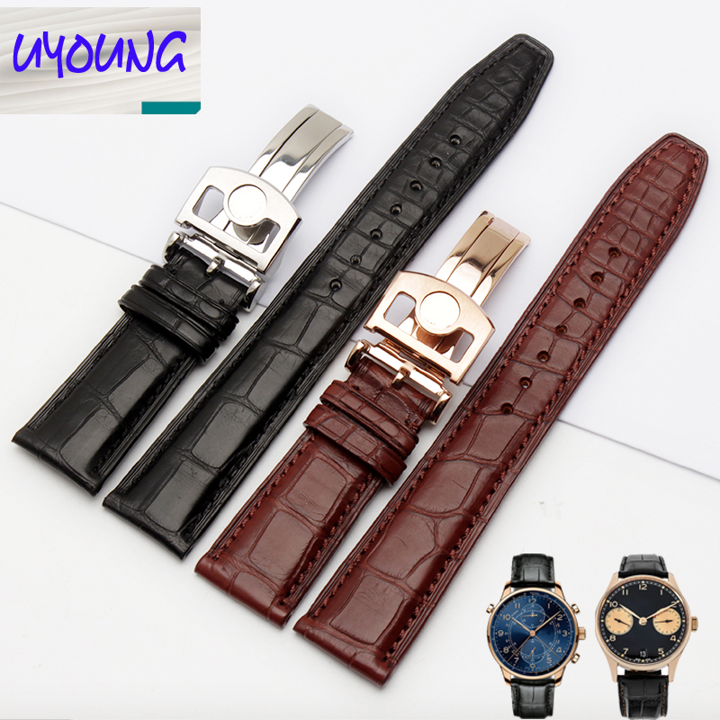 Uyoung bracelet de montre bracelet Alligator Adaptation iw371446 20mm + peau de crocodile naturel outils gratuits - 5
