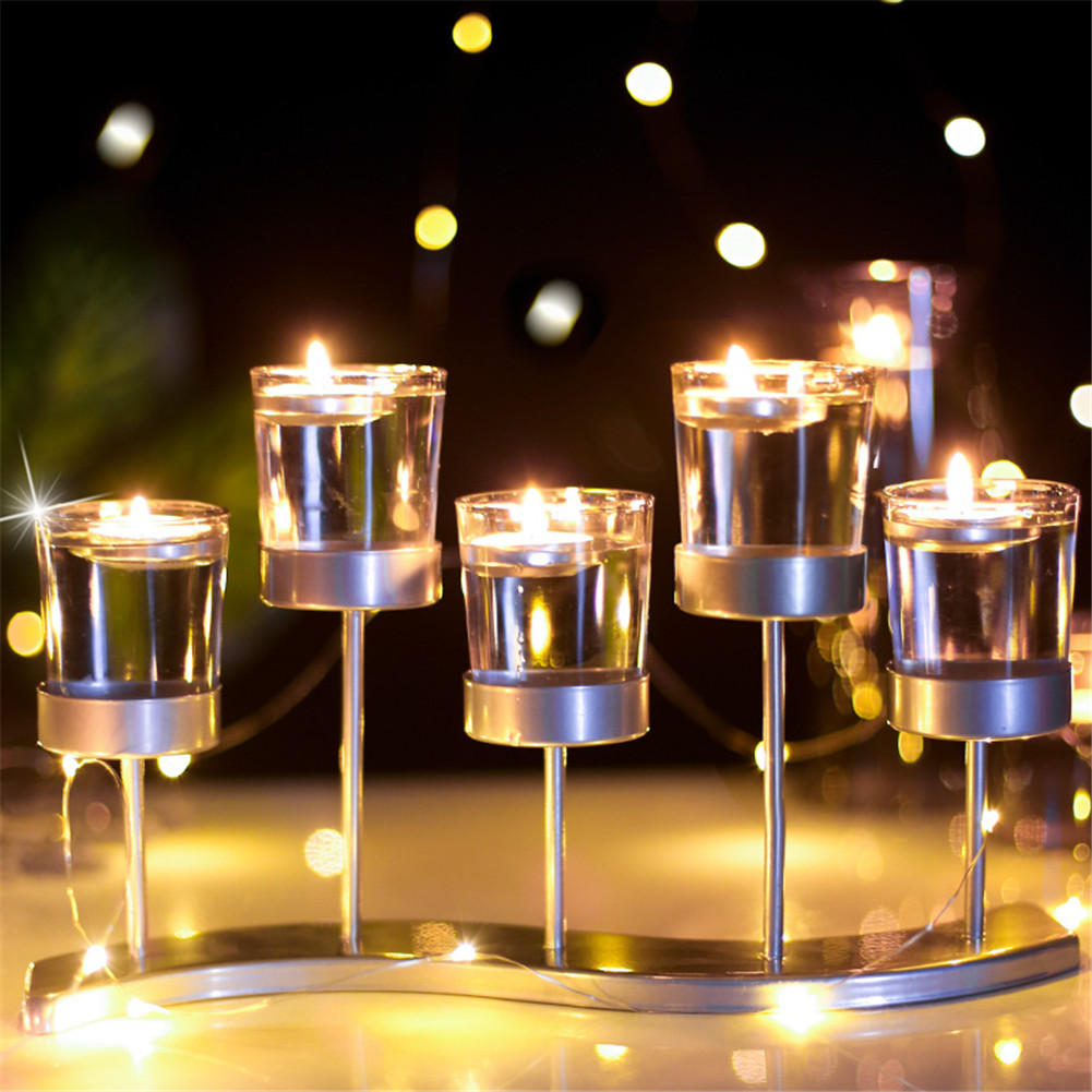 Candelero de cristal transparente de Metal soporte de mesa de boda Portavelas europeo de cristal de hierro forjado HTQ99