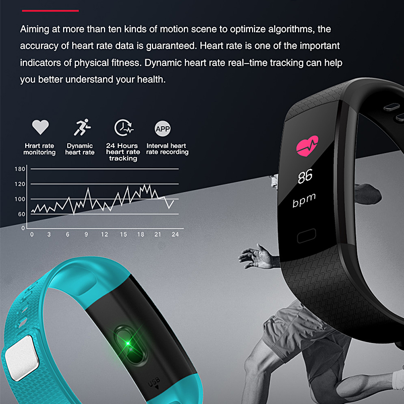 Smart sports Brecelet Color Touch Screen Watch Heart Rate Blood Pressure Oxygen Monitoring Fitness Tracker Digital Men Watches