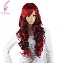 Yiyaobess peluca sintética de pelo negro y rojo con flequillo para mujer, disfraz de Halloween, largo ondulado arco iris de color, pelucas