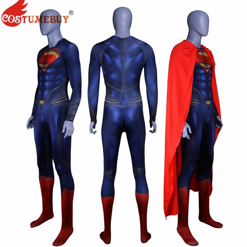 CostumeBuy Justice League Movie Man of Steel Superman Cosplay Men Costume Zentai Catsuit Superhero Man Bodysuit Jumpsuits Cloak