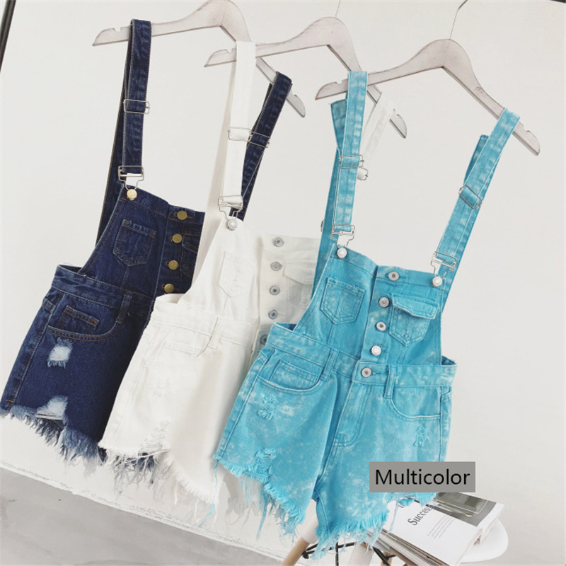 The new college wind denim strap shorts female summer hole loose Korean students was thin sling tide (16)