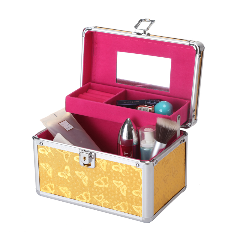 Aluminum alloy Travel Makeup Organizer Bag Portable Cosmetic Organizer Box Toiletry Make Up Gift Box Professional Cosmetics Case msq make up bag pink and portable cosmetic bags for professional makeup artist toiletry case new arrival