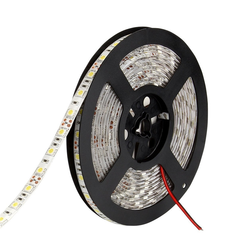 LED Strip Waterproof 5050 DC12V 60LEDs/m 5m/lot Flexible LED Light RGB 5050 LED Strip White / Warm White /Red / Greed / Blue