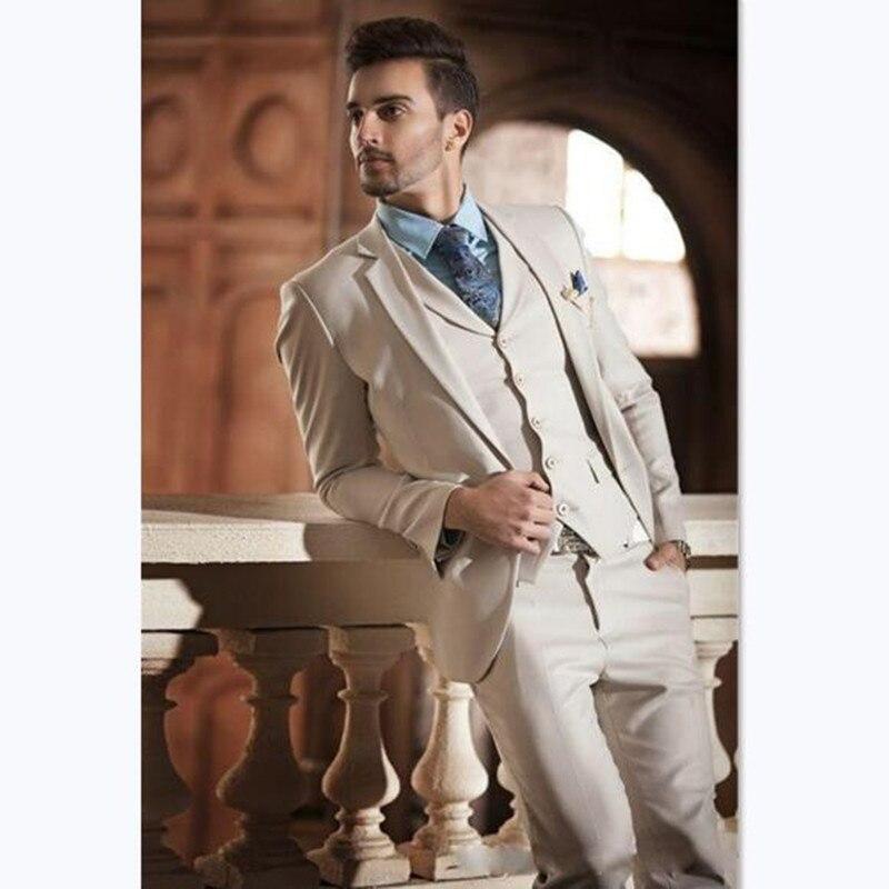 New Design Ivory Cream Groom Tuxedos Italian Style Mens Wedding Prom Dinner Suits 3 Piece Slim Fit Man Suit Terno Masculino