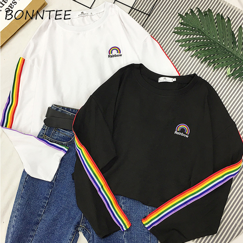 T-shirts Rainbow Striped Kawaii Long Sleeve Soft Loose Embroidery Korean Style Women Tee Lovely Fashion Womens T-shirt All-match