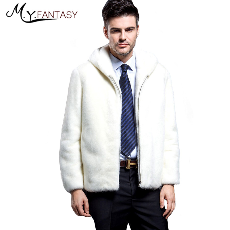 Mink-Coat Real-Fur-Jacket Winter Warm Cross White Man Shuba Collar Zipper Stand Square