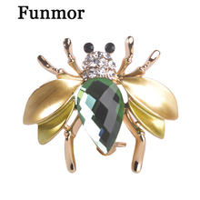 Irregular Green Fly Mosquitoes Brooch Gun Black Plated Crystal Insects Brooches For Woman Shirt Collar Suits Corsages Jewelry(China)