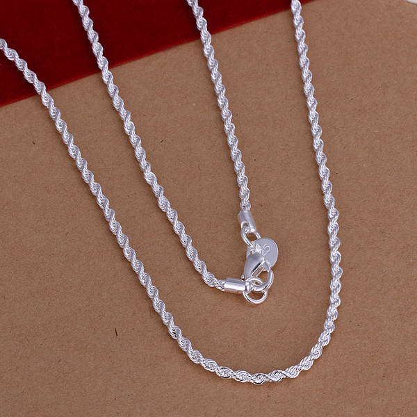 1pc 2mm Width Pure 925 Sterling Silver Charm Rope Necklace Chains Jewelry With Good Quality Lobster Clasps Set 16-24inches Shrink-Proof Necklaces & Pendants Jewelry & Accessories