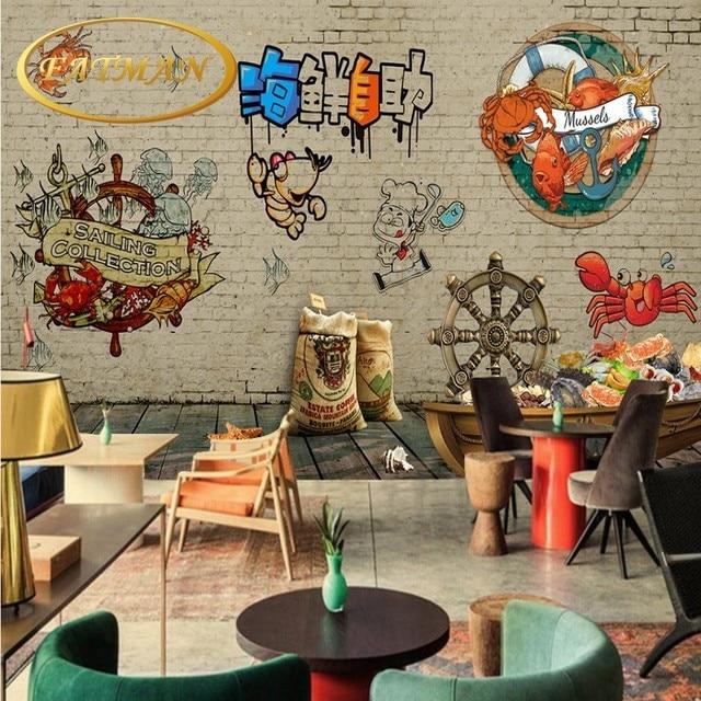 Individuelle Fototapeten Buffet Dekoration Hintergrund Design Restaurant  Wohnzimmer Lobby Tapete 3D Meeresfrüchte Shop Wandbild
