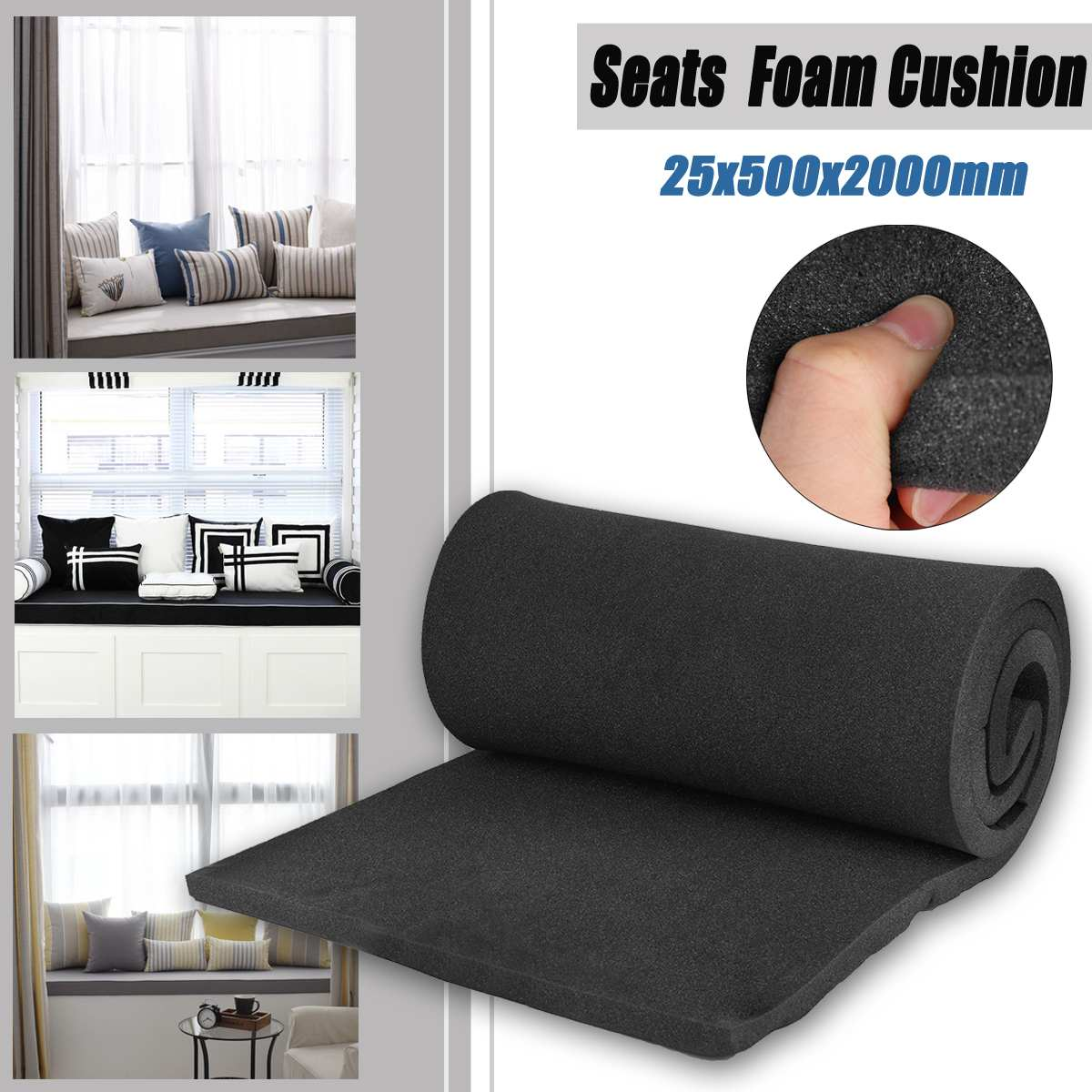 KIWARM High Density Seat Foam Rubber Replacement Upholstery Cushion Pad Length 2000X50X25mm Two Color