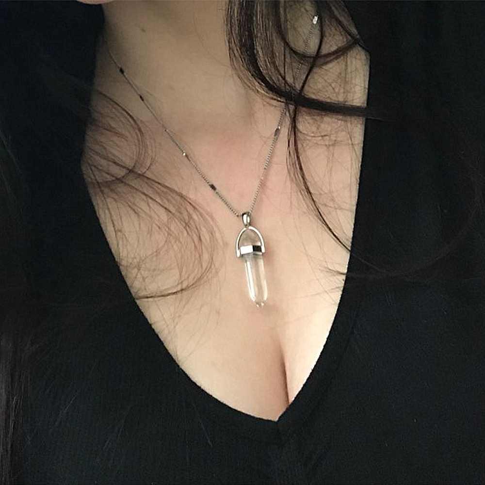 KISS ภรรยาร้อนขายหกเหลี่ยมควอตซ์สร้อยคอจี้ VINTAGE หินธรรมชาติ Bullet สร้อยคอคริสตัลสำหรับเครื่องประดับสตรี