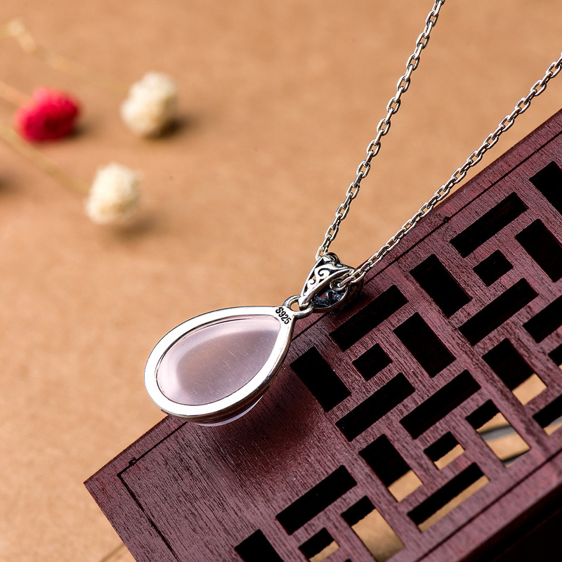 Image 2 - Genuine 925 Silver Rose Quartz Pendant For Women Natural Gemstone  Water Drop Shape Necklaces