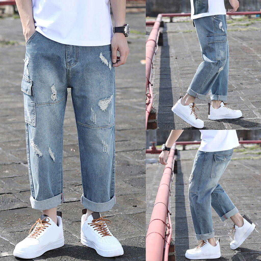 2019 Men's jeans new fashion summer casual large size folding hole straight loose denim trousers 7.10(China)