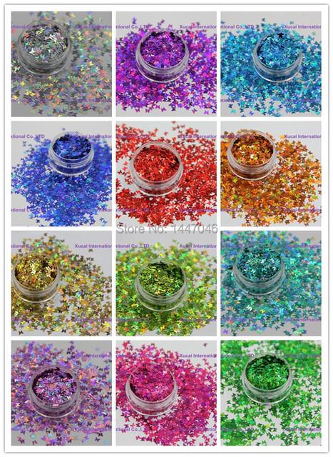 12 colores holográficos forma de la mariposa Del Brillo de las lentejuelas de Uñas y Arte DIY decora Tamaño: 3 MM 1 Pack = 10g * 12 = 120g