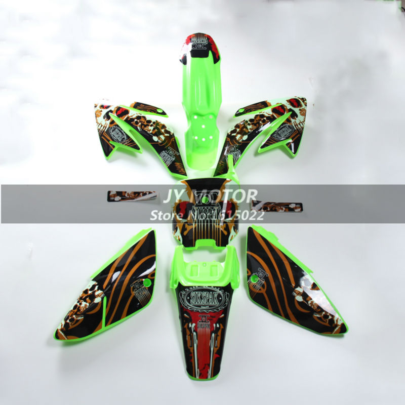 Pit dirt bike plastic Fender fairing plastic kits and graphics decals sticker kits 3M for motorcycle Chinese dirt bike CRF 70cc for yamaha mt07 fz07 mt 07 fz 07 2014 2015 motorcycle cnc billet aluminum front fork cover caps free shipping