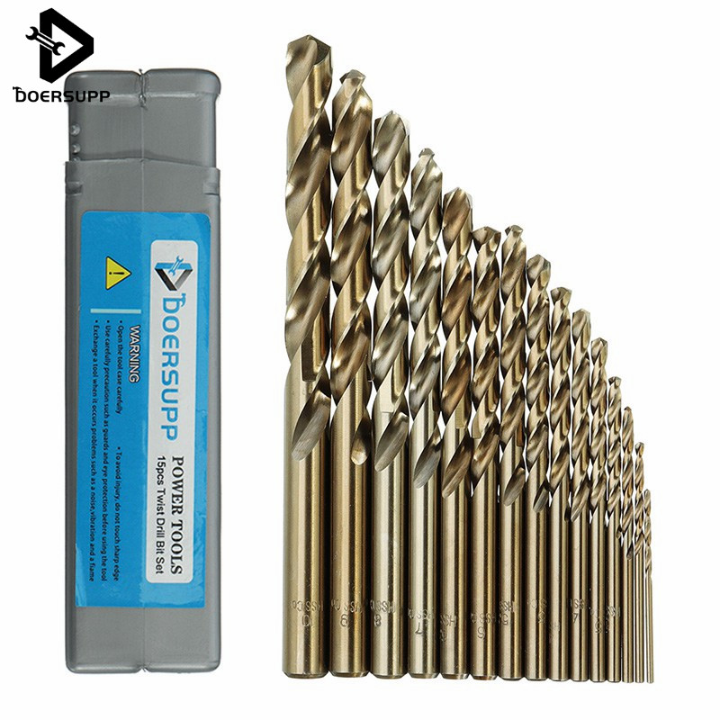 Doersupp 15pcs/set 1.5-10mm HSS-CO M35 Cobalt Twist Drill Bit 40-133mm Length Wood Metal Drilling Electric Drill Power Tools 98pcs set 1 5 10mm high speed steel titanium coated cobalt hss co steel twist drill bit set power tools wood metal drilling
