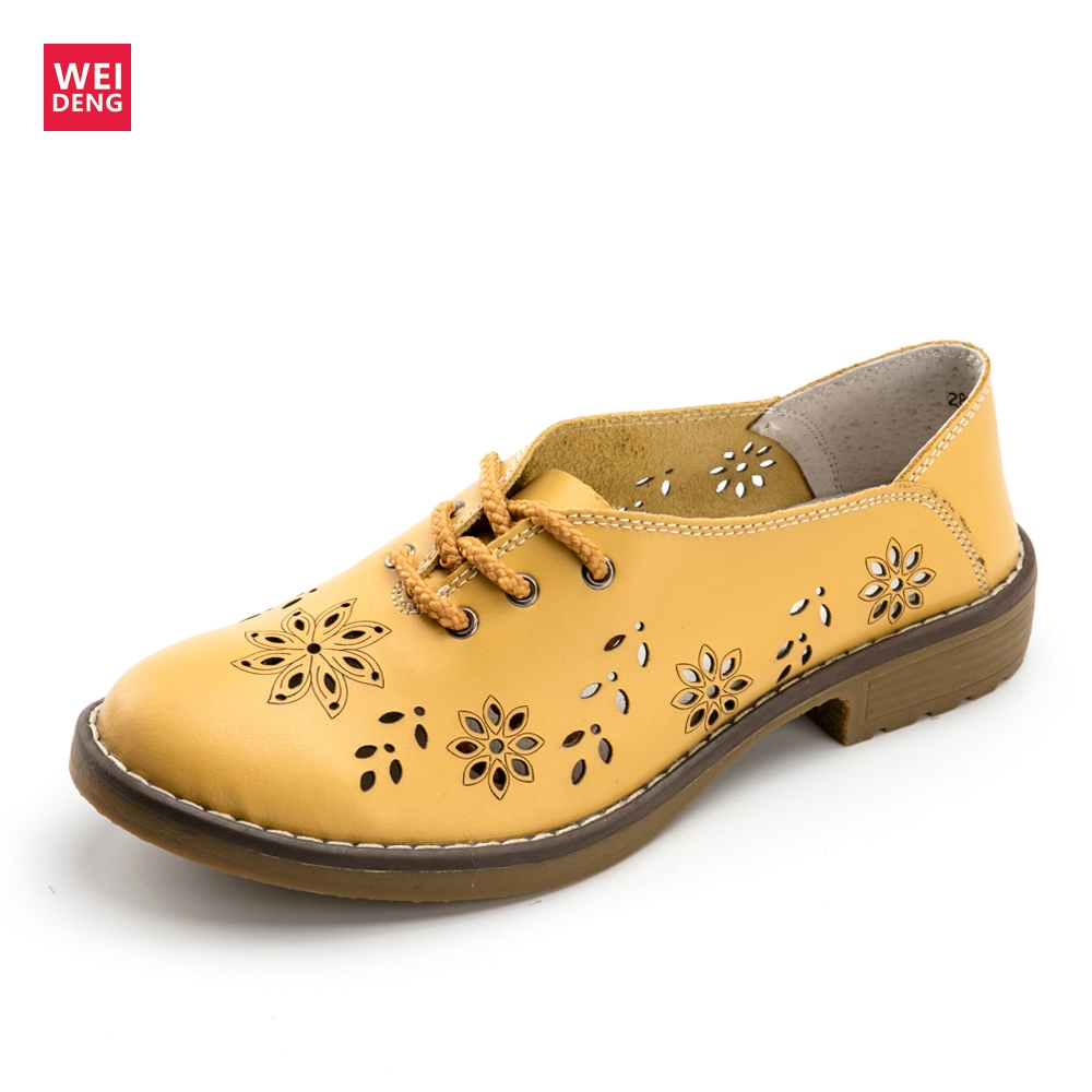 WeiDeng Women Genuine   Leather   Flats Casual Ladies Ankle Boots Brogue Designer Oxford Lace Up Fashion Flower Handmade