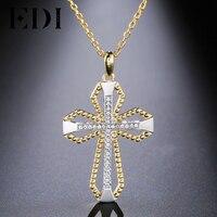 EDI Naturel Blanc Topaz Gemstone Croix Religieuse Charmes Pendentif Classique 925 Sterling Argent 18 K Or Bijoux pour la Fête cadeau