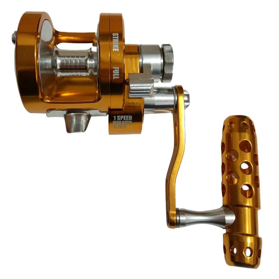 HLES Full Metal Jigging Reel Single Speed Trolling Fishing Reel 30kgs Power Drag Deep Sea Saltwater Boat Reel SY90 4.5:1 left
