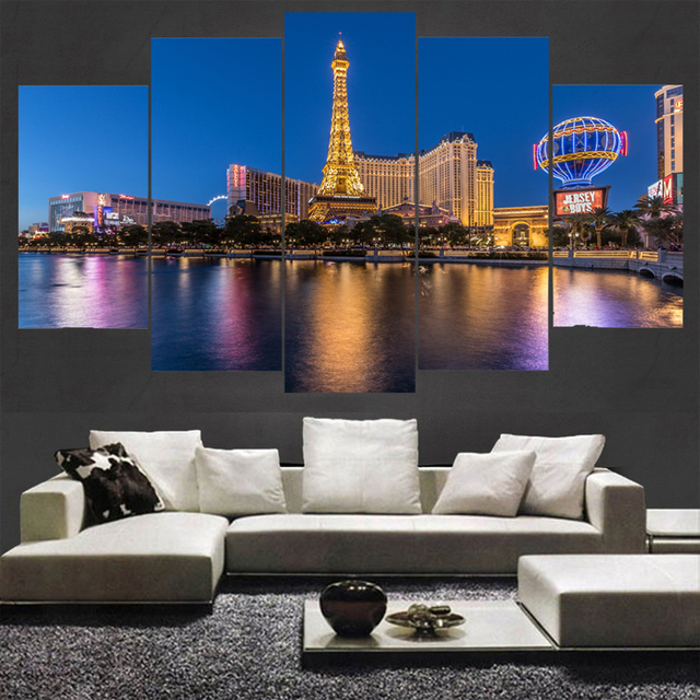 Home decor wall art usa las vegas city night landscape poster hd printed building painting 5