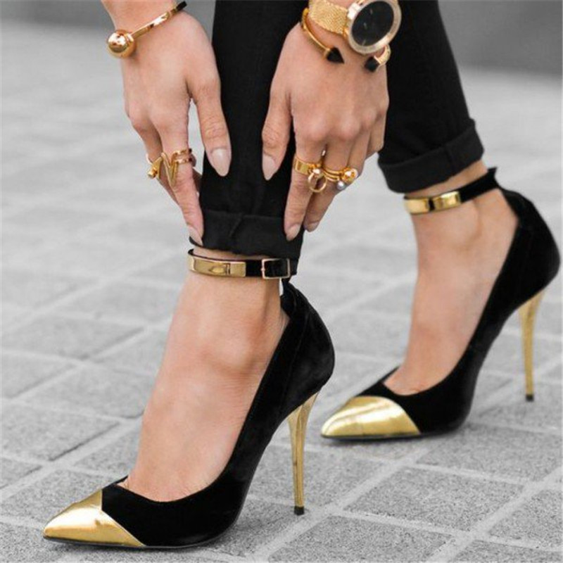 Fashion Ankle Buckle Strap Ladies Pumps Gold Black High Heels Stilettos Pumps Pointed Toe Sexy Party Office Lady Shoes WomenFashion Ankle Buckle Strap Ladies Pumps Gold Black High Heels Stilettos Pumps Pointed Toe Sexy Party Office Lady Shoes Women
