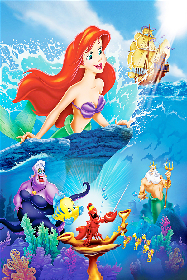 The Little Mermaid Poster Little Mermaid Princess Wall Stickers Fairy Tale  Wallpaper Mural Kids Christmas Home