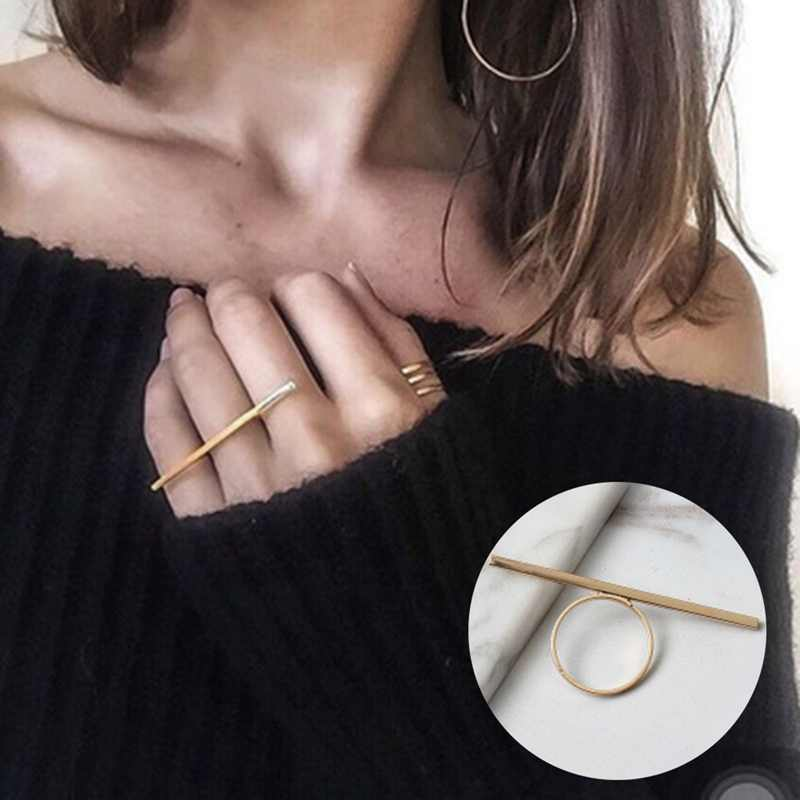 New hot selling OL ladies fashion simple one word long strip shape ring All-match exaggerated ring women ring