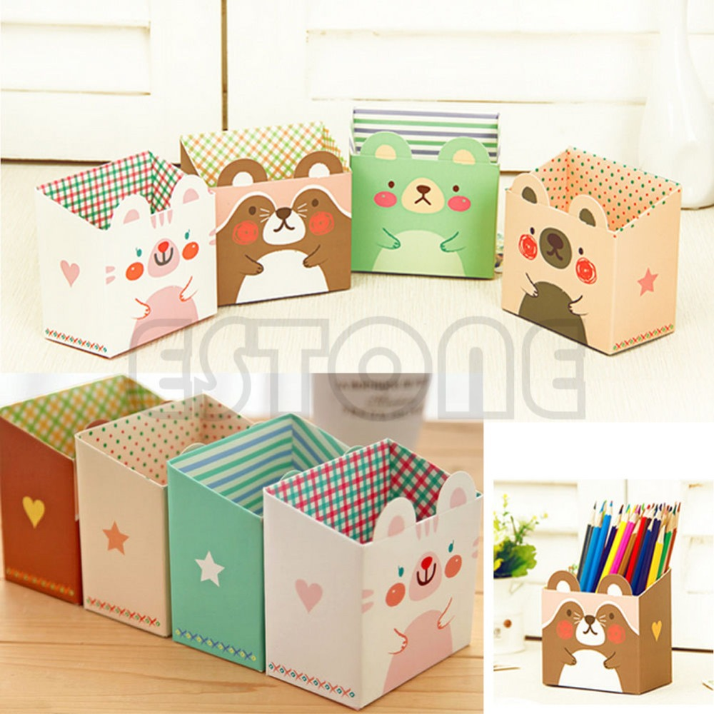 Free Shipping 1 pc Cute Cat Cartoon Paper Stationery Makeup Cosmetic Desk  Organizer Storage Box DIY