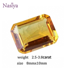 2.5-3.8 Carat Natural Yellow Citrine Crystal Section Brazil Emerald Cut Beads Loose stone Fit For DIY Fine Jewelry Making