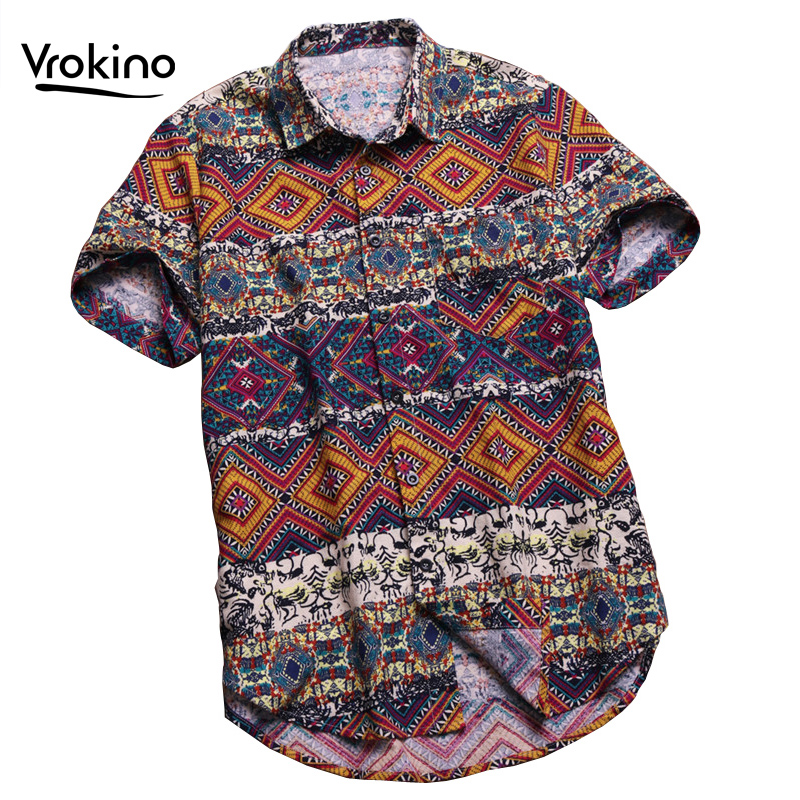 VROKINO 4XL 5XL 6XL Men's Casual Hawaiian Beach Shirt 2019 New Summer Fashion Man Print Large Size Short Sleeve Shirt